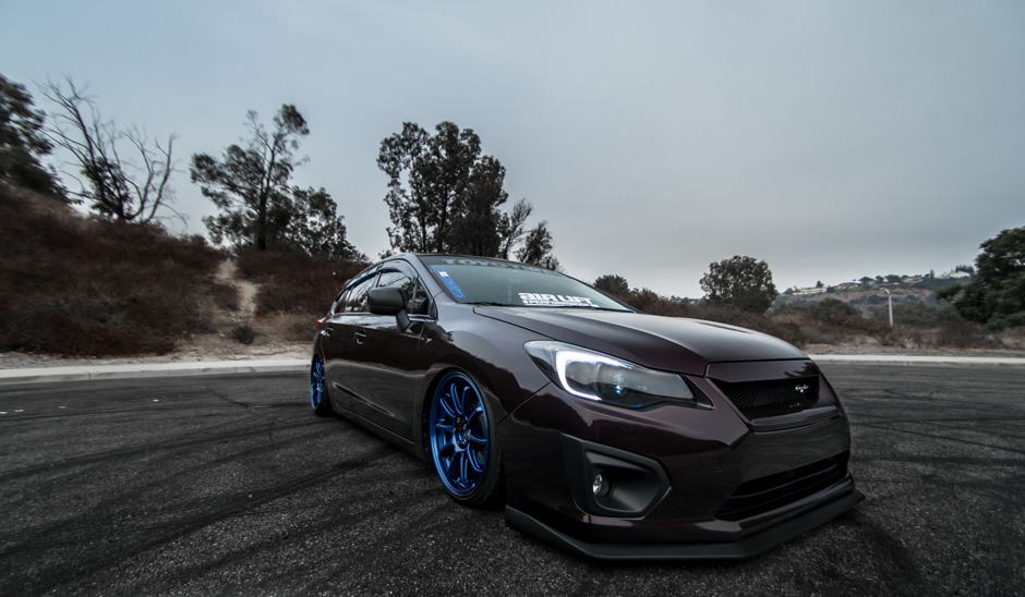 Air Lift Performance Bagged 2013 Subaru Impreza Hatchback FB20 GP7 Bavar Racing BVR03 Bayside Blue Aftermarket Wheels